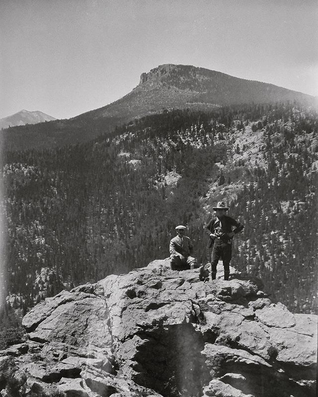 "Negative number 20 from the Rocky Mountain Nat. Park Album - 1924 I believe the caption on this one reads ""Twin Sisters Sam + pop"" foundphoto #snapshot #familyslideshow #longlivefilm #nationalparks #rockymountainnationalpark  #vacationpic #thatview #takeahike"