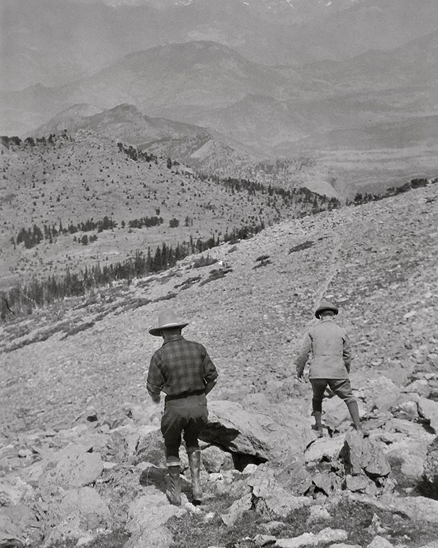 "Negative number 21 from the Rocky Mountain Nat. Park Album - 1924 I believe the caption on this one reads ""Twin Sisters pop + self"" foundphoto #snapshot #familyslideshow #longlivefilm #nationalparks #rockymountainnationalpark  #vacationpic #thatview #takeahike"