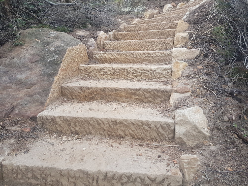 Completed stone steps