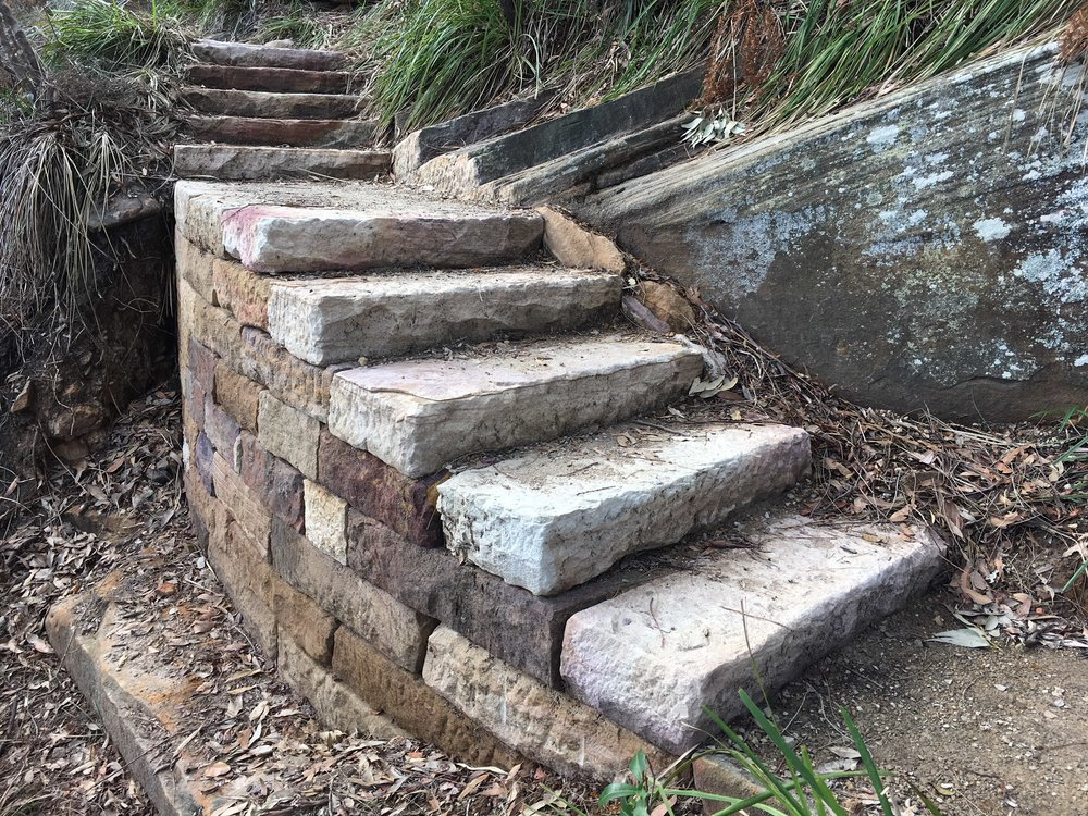Completed retaining wall & staircase