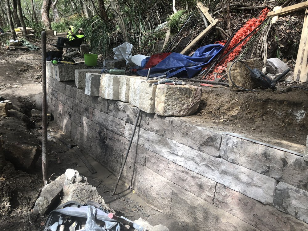 Retaining wall during