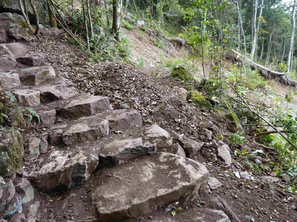 P1020968 entrance staircase, land slip bypass, Mt Cordeaux, 2014, after 1.JPG