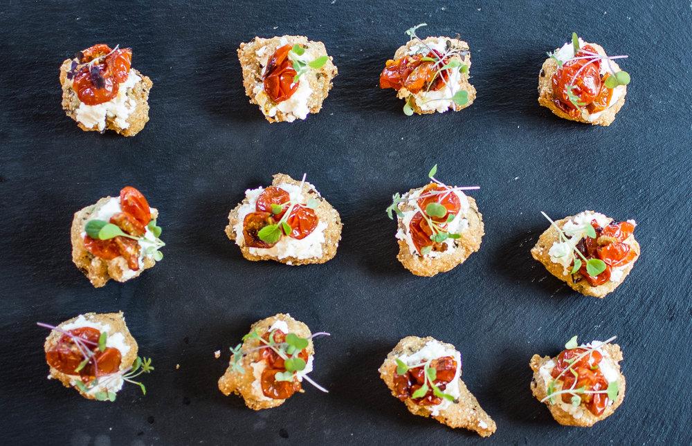 Fried Okra Corncake Hors d'oeuvre