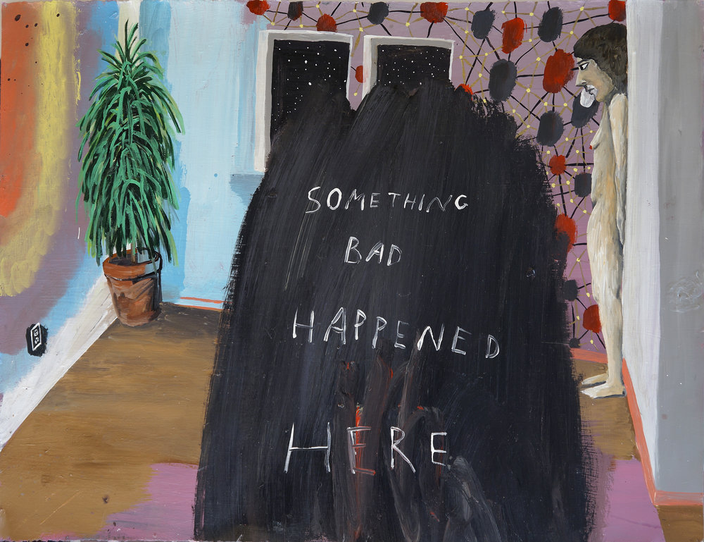Cate White, Something Bad Happened Here, 23 x 30, acrylic, latex on paper, 2018
