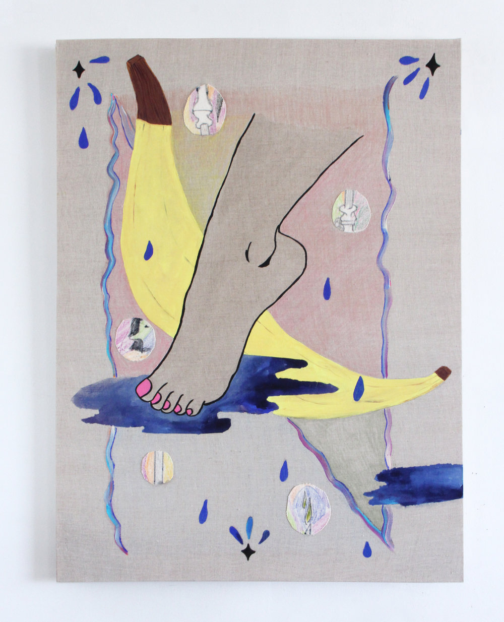 """Jamie Felton, """"Foot, Puddle, Banana"""", 30 x 40 in, Ink and acrylic on linen, 2017"""