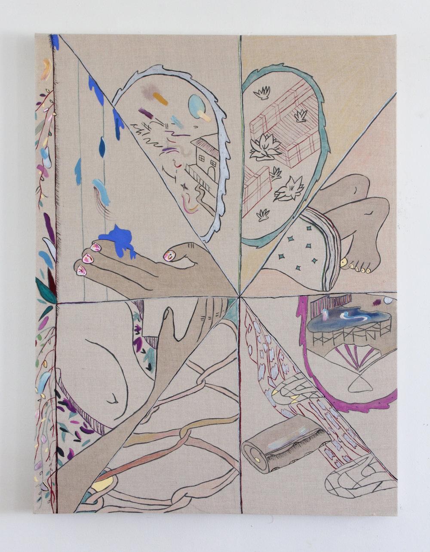 """Jamie Felton, """"8 Wet Scenes of Love"""", 30 x 40 in, Ink and Acrylic on linen, 2017"""