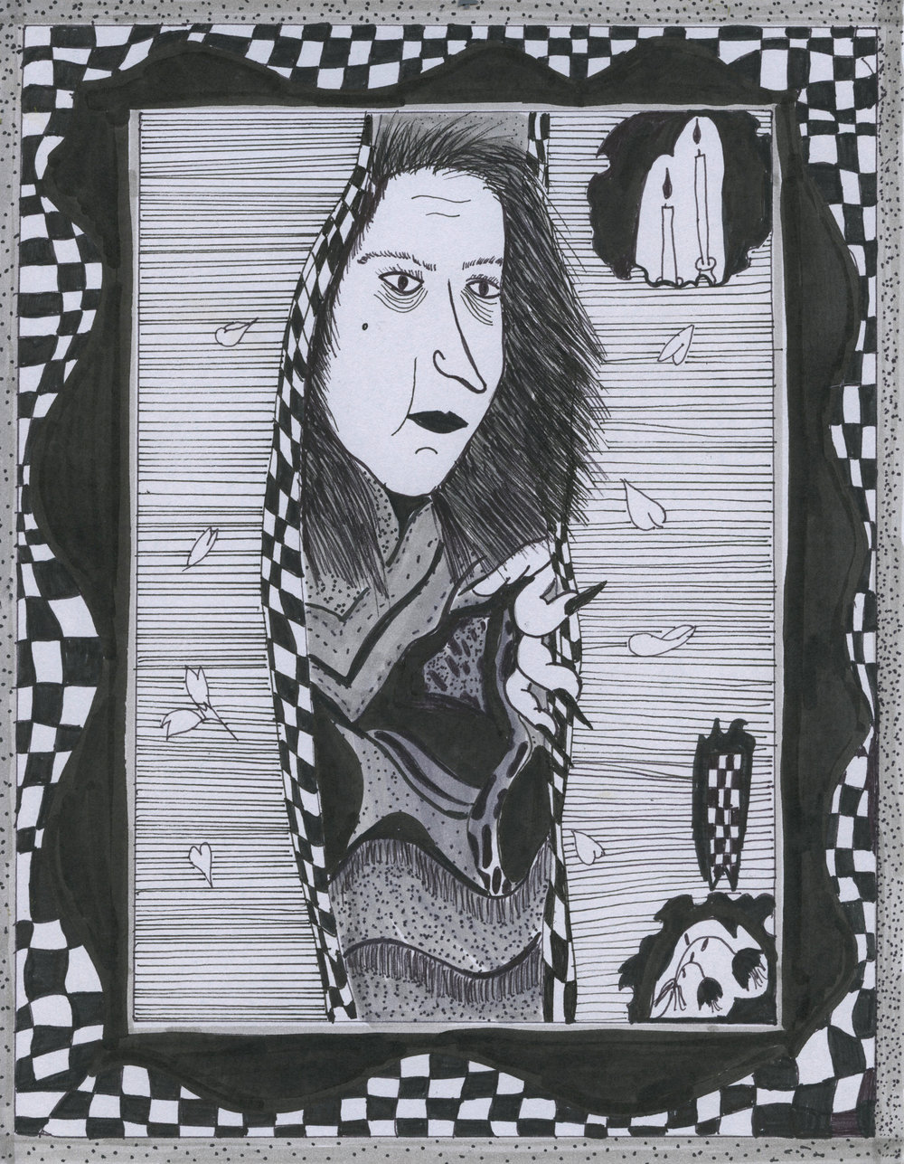 """Jamie Felton, """"Witch Woman"""", 8.5 x 11 in, Ink on paper, 2017"""