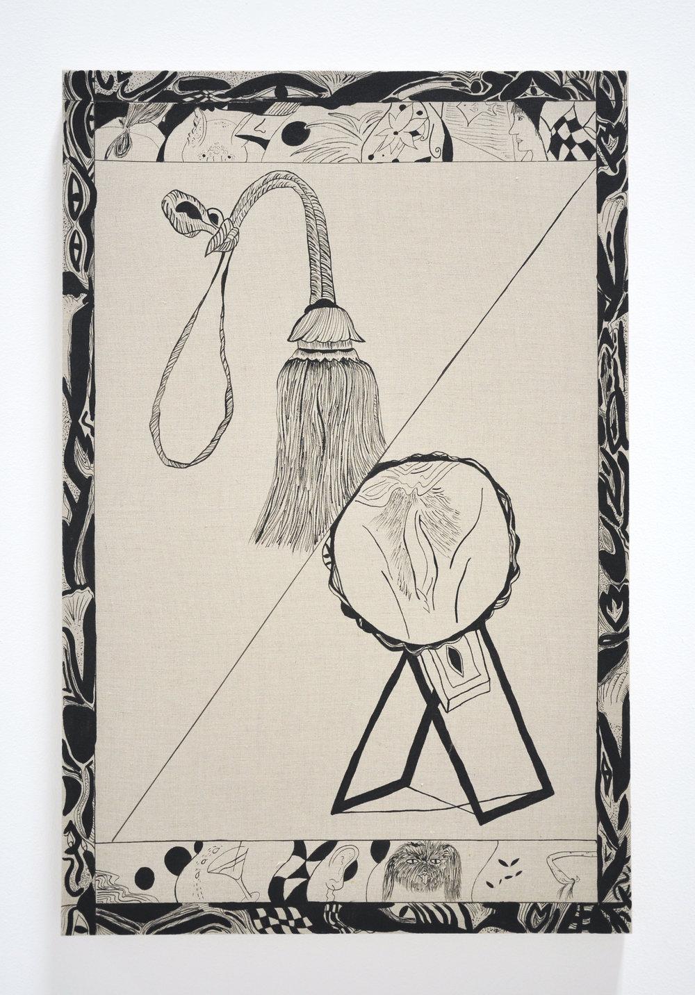 "Jamie Felton, ""Tassel and a Mirror"", 30 x 42 in, Ink on Linen, 2017"