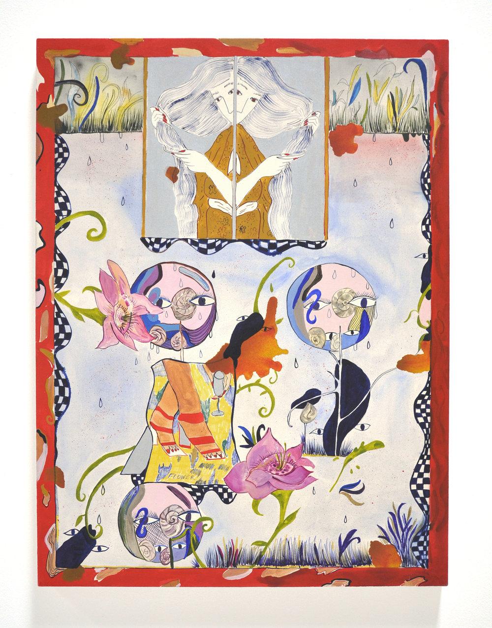 "Jamie Felton, ""Her Snail Garden"", 36 x 48 in, Ink and acrylic on canvas, 2018"