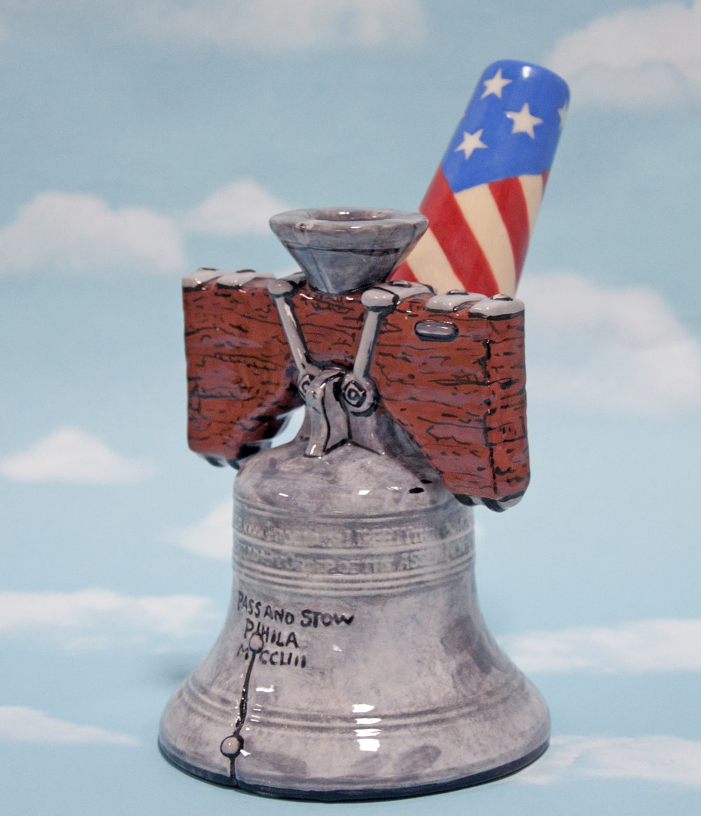 """Liberty Bell Bong"", glazed ceramic, 7 3/4 x 4 3/4 x 6 in, 2018"