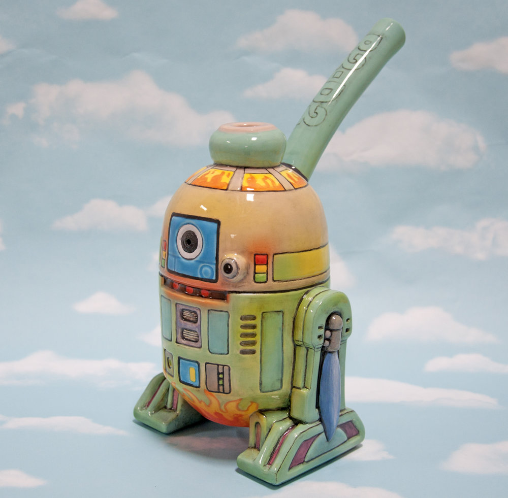 """R2D2"", glazed ceramic, 12 1/2 x 9 x 6 1/2 in, 2018"