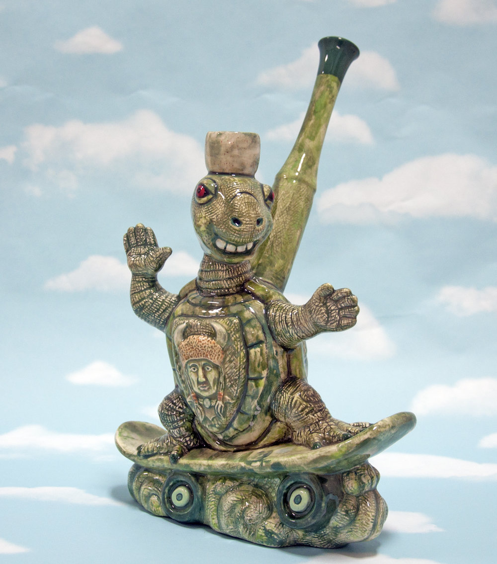 """Faux-Jade Turtle Peace Pipe"", glazed earthenware, 12 x 7 x 8 in, 2017"