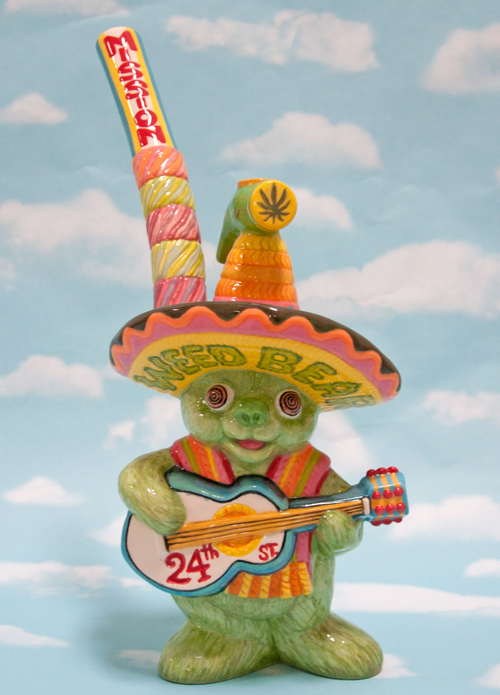 """Mission Mariachi Weed Bear Bong"", glazed ceramic, 14 1/4 x 6 1/2 x 5 1/2 in, 2018"