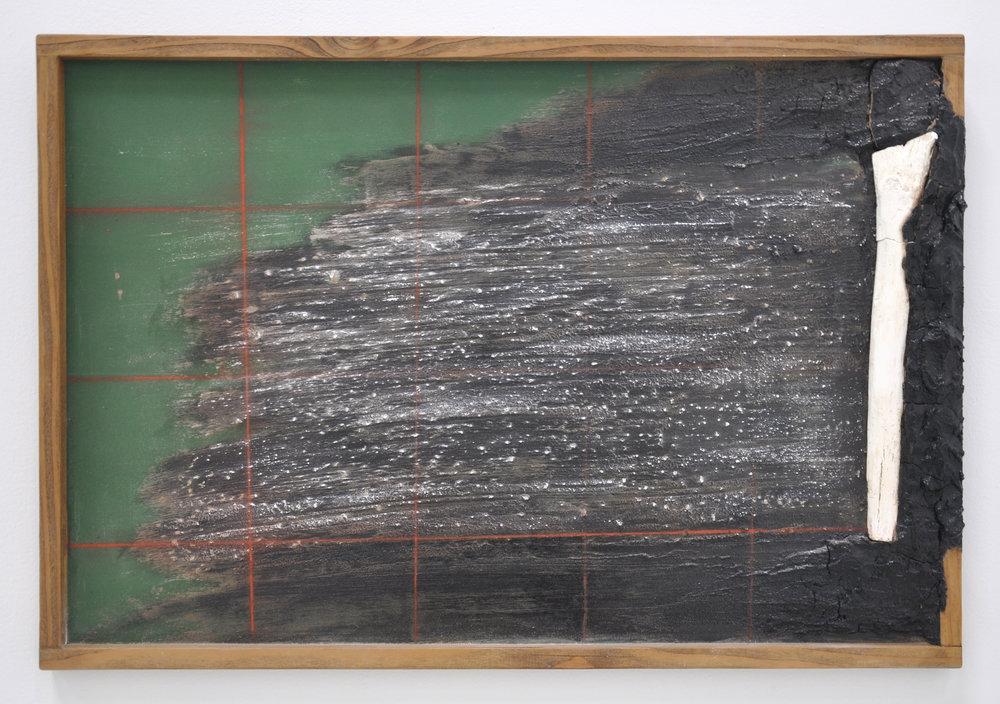 Ariel Rene Jackson, Untitled, Panel, Wood, Chalk, Soil, Chalkboard Paint, Red Line Chalk, 14 x 3 x 24in