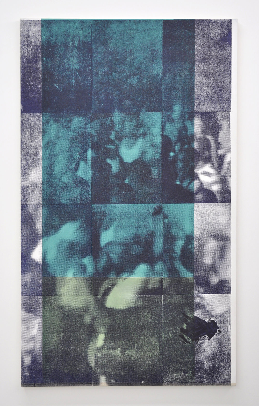 Paul Anthony Smith, Grey Area 3.2, Oil and silkscreen on canvas, 84 x 50 in, 2017