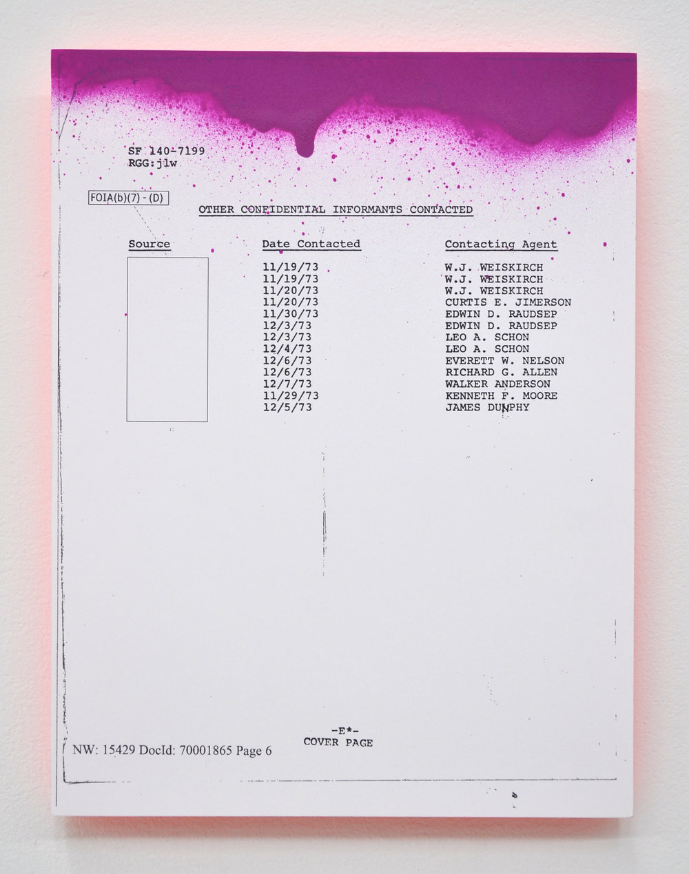 Sadie Barnette, Excerpt: My Father's FBI File, Project III, Laser print with aerosol paint and rhinestones mounted to plexiglass, 10.5 x 8.75in, 2017, NFS