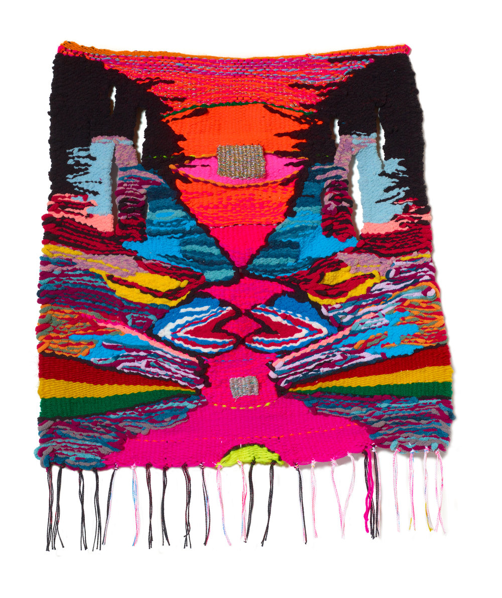 Terri Friedman Angry Joy, 2019, 26 x 29, wool, cotton, acrylic, metallic, polyester fibers, $1500