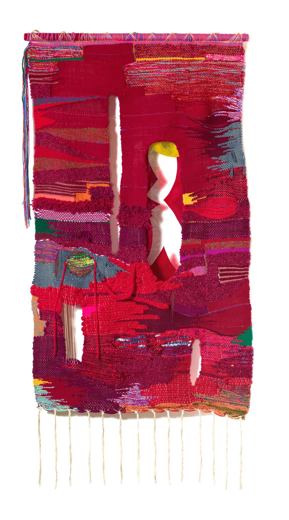 Terri Friedman Fermented, 2019, 40 x 76, wool, cotton, acrylic, metallic fibers, fused glass, $12,000