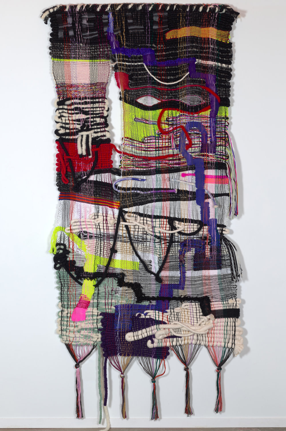 Terri Friedman Hello Uncertainty, 2018, 96 x 42, wool, cotton, acrylic fibers, $14,000