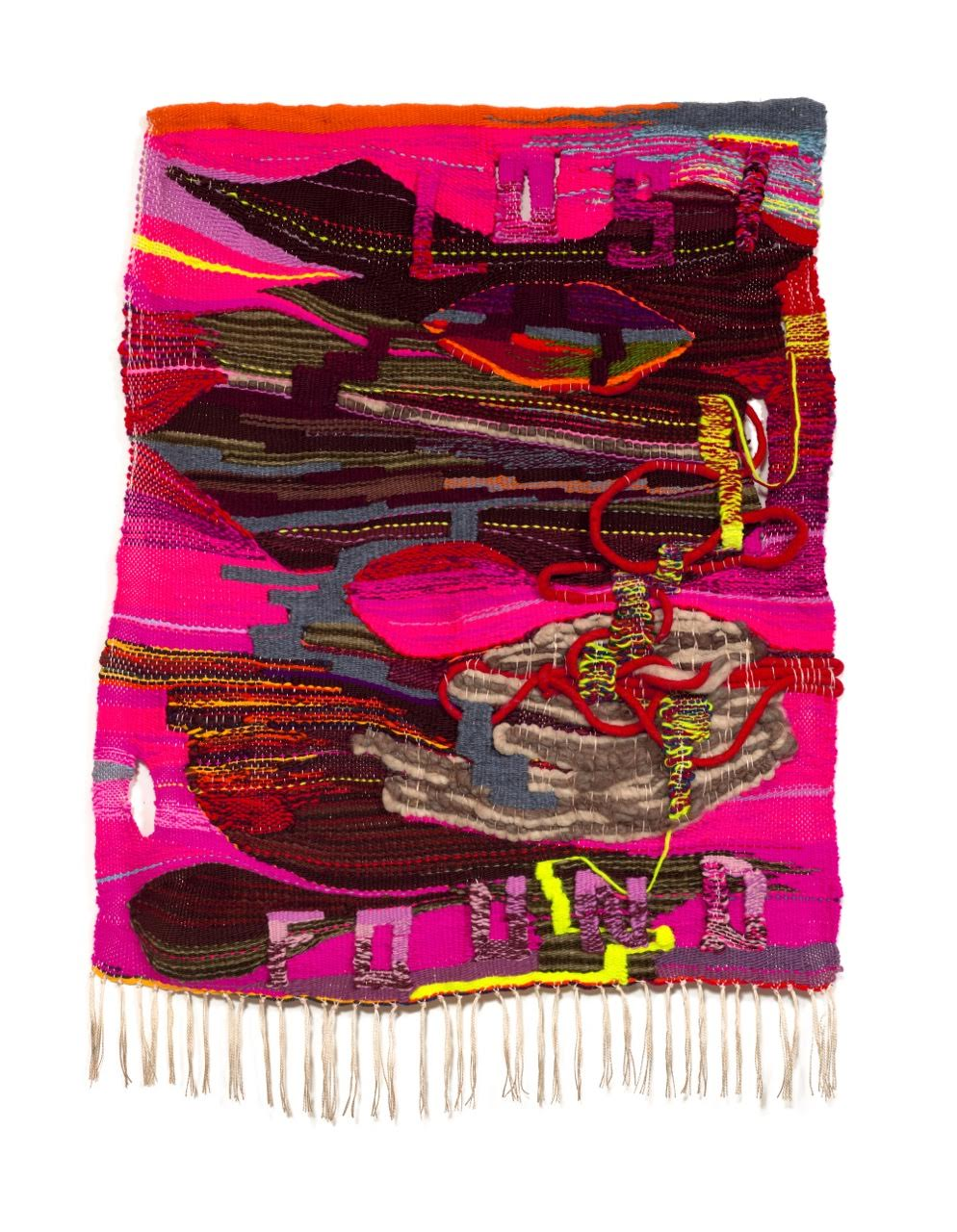 "Terri Friedman Lost & Found, 2018, 48"" x 32"", wool, cotton, acrylic, metallic fibers, $6000"