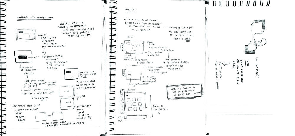 Conceptual sketches and ideation from process workbook