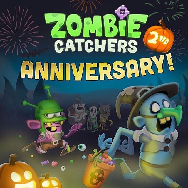 Its our 2 Year Anniversary!! Can you spot all the funny halloween costumes on our new update? #zombiecatchers #halloween #halloweencostumes #zombies