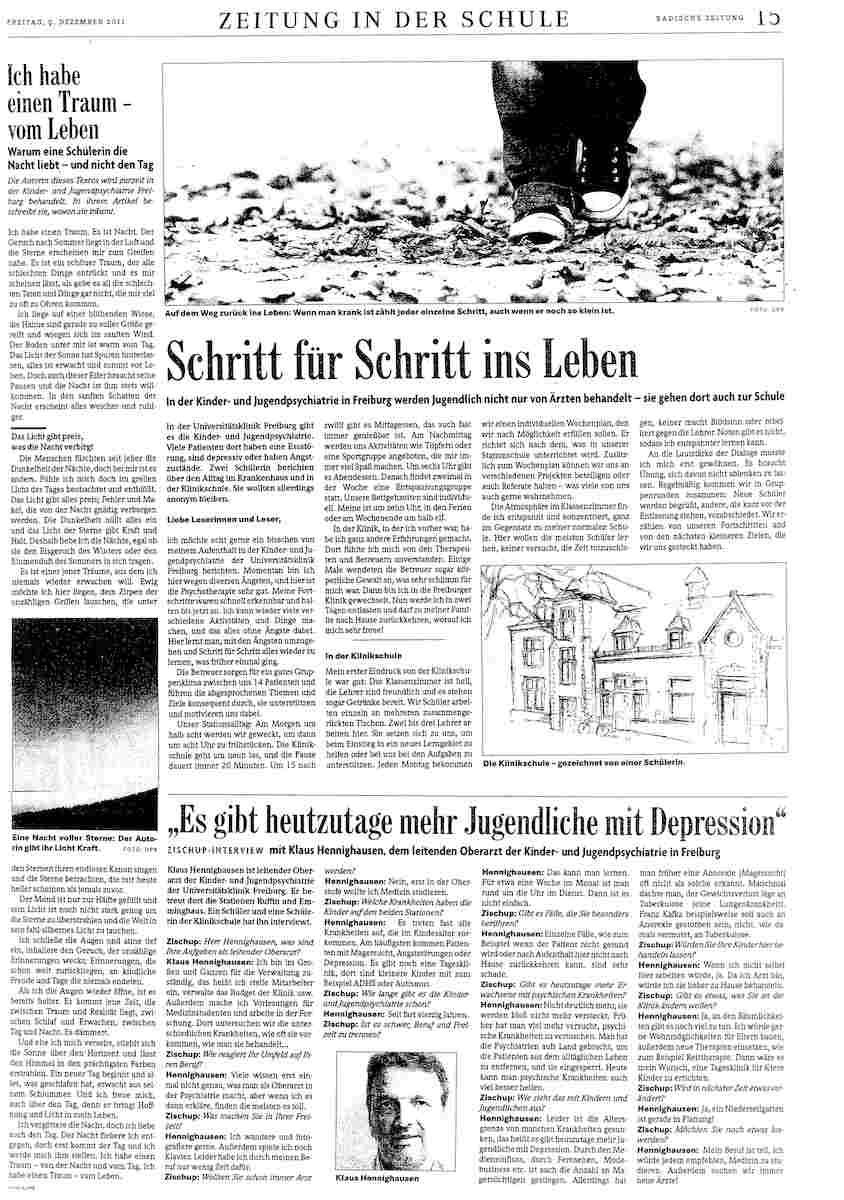 """Badische Zeitung """"Zeitung in der Schule"""" 12/2011"""