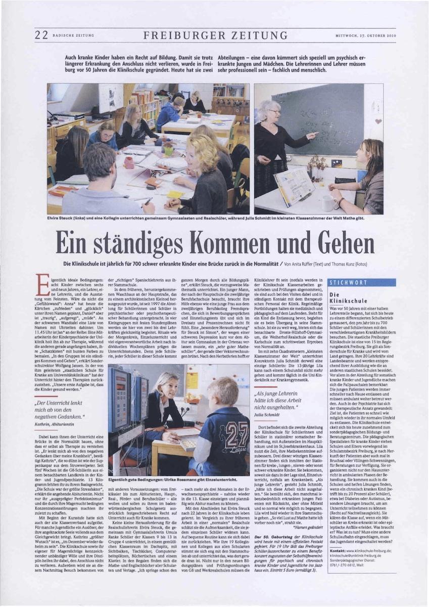 Badische Zeitung, Ein ständiges Kommen und Gehen 10/2010