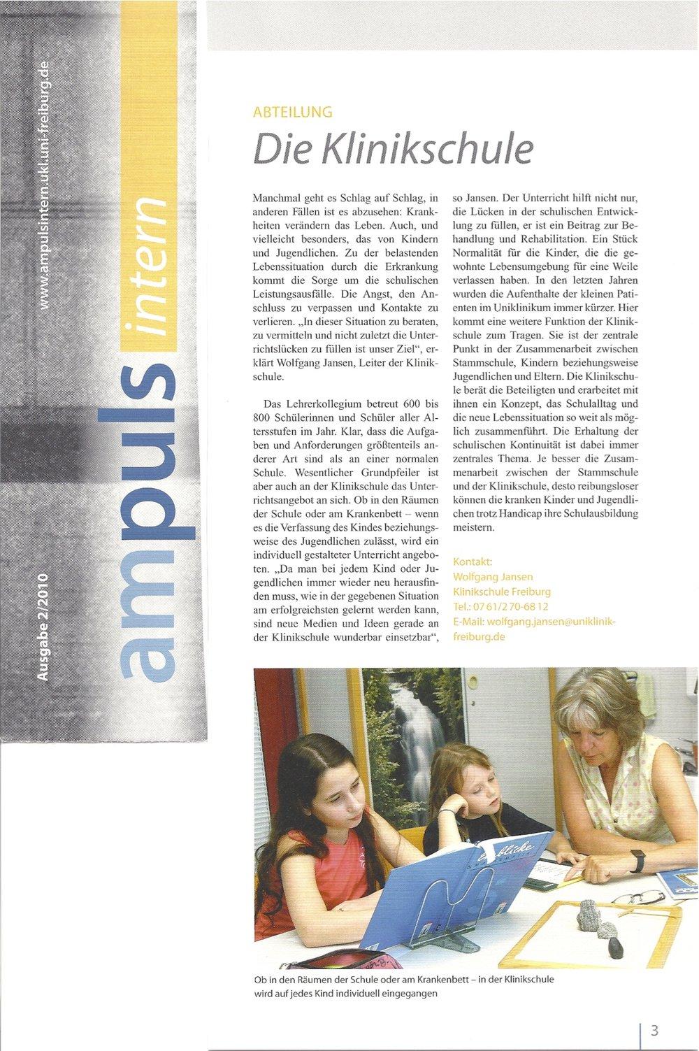 ampuls, Die Klinikschule 2/2010