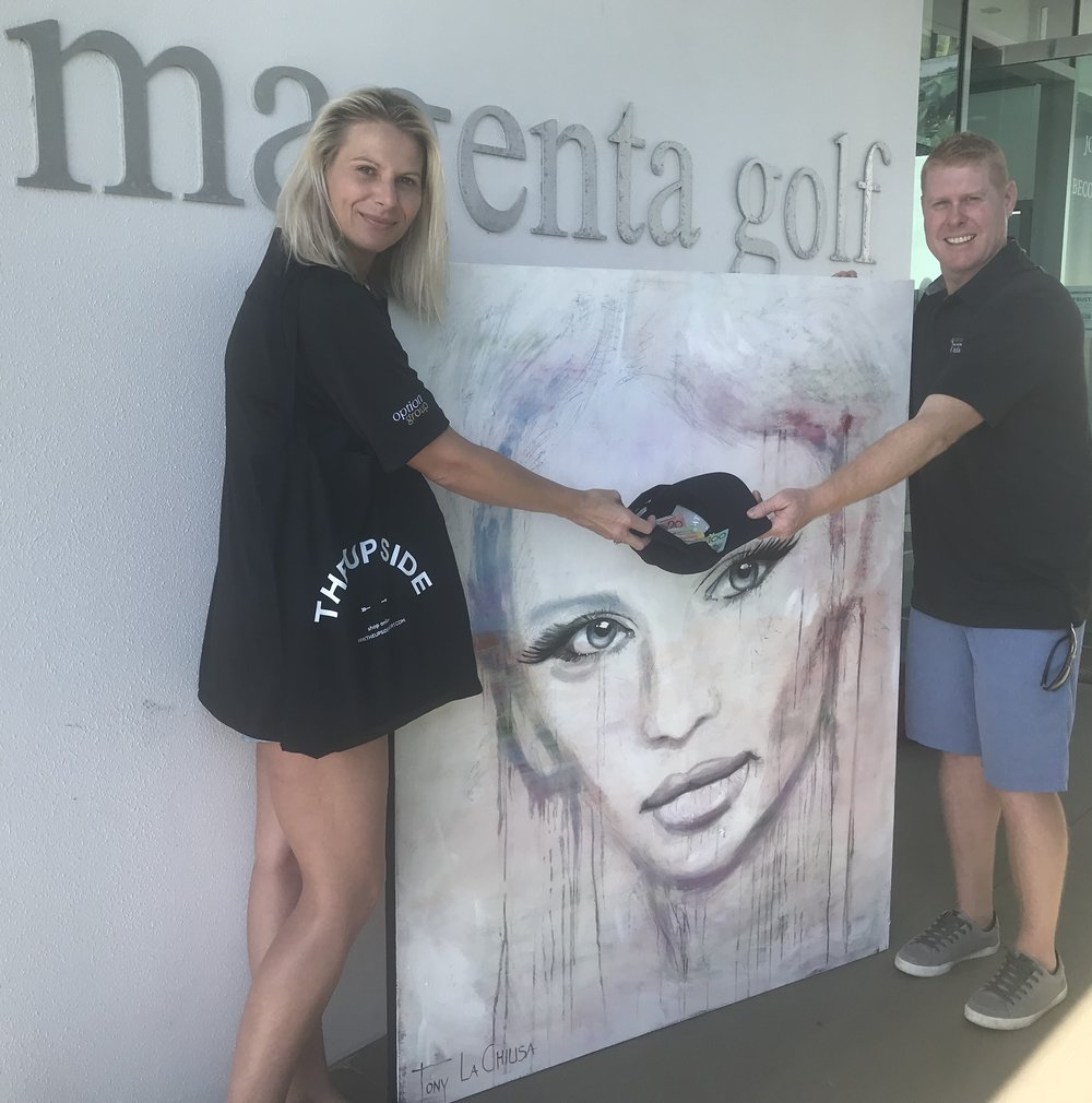 "Tony La Chiusa large wall art donation "" Desire"" for the Charity Golf Day at Magenta Shores Golf and Country Club -hole in one Competition  source - The Northern Daily Leader"