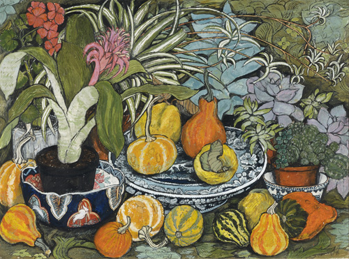 Dione Page (b. 1936)    Plants, Gourds and Quinces,  1983, Mixed media on paper, 55 x 74cm