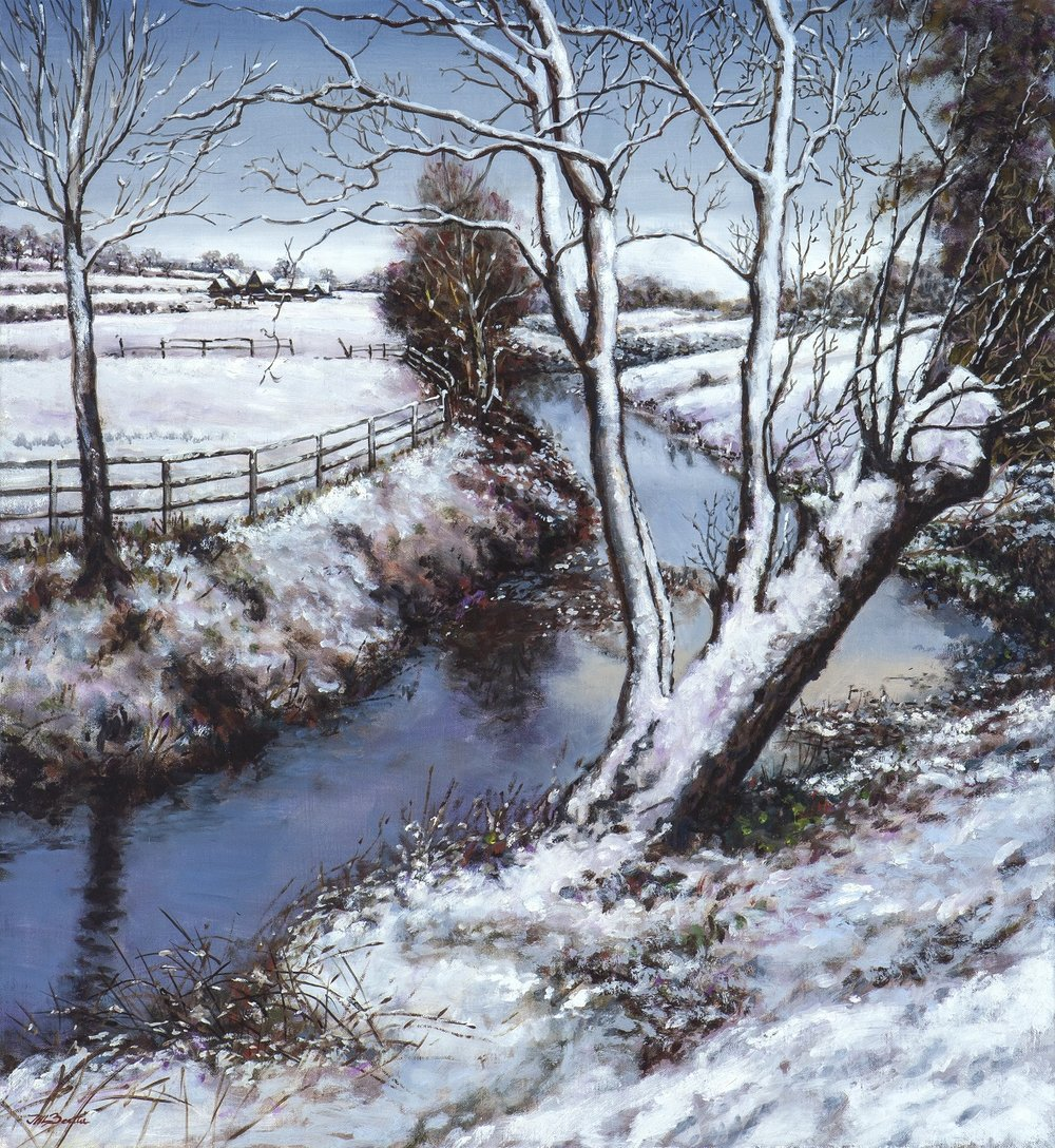 First snow on the River Colne,  Oil on linen, 22 x 24 in, For sale