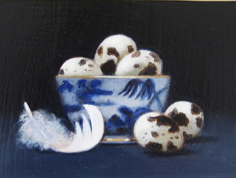 Quails Eggs with Swan Feather , Oil on board, 20 x 26 cm