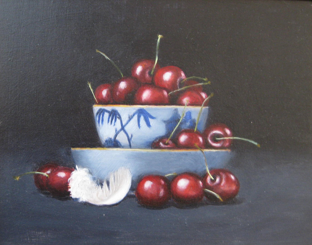 Red Cherries , Oil on board, 20 x 26 cm