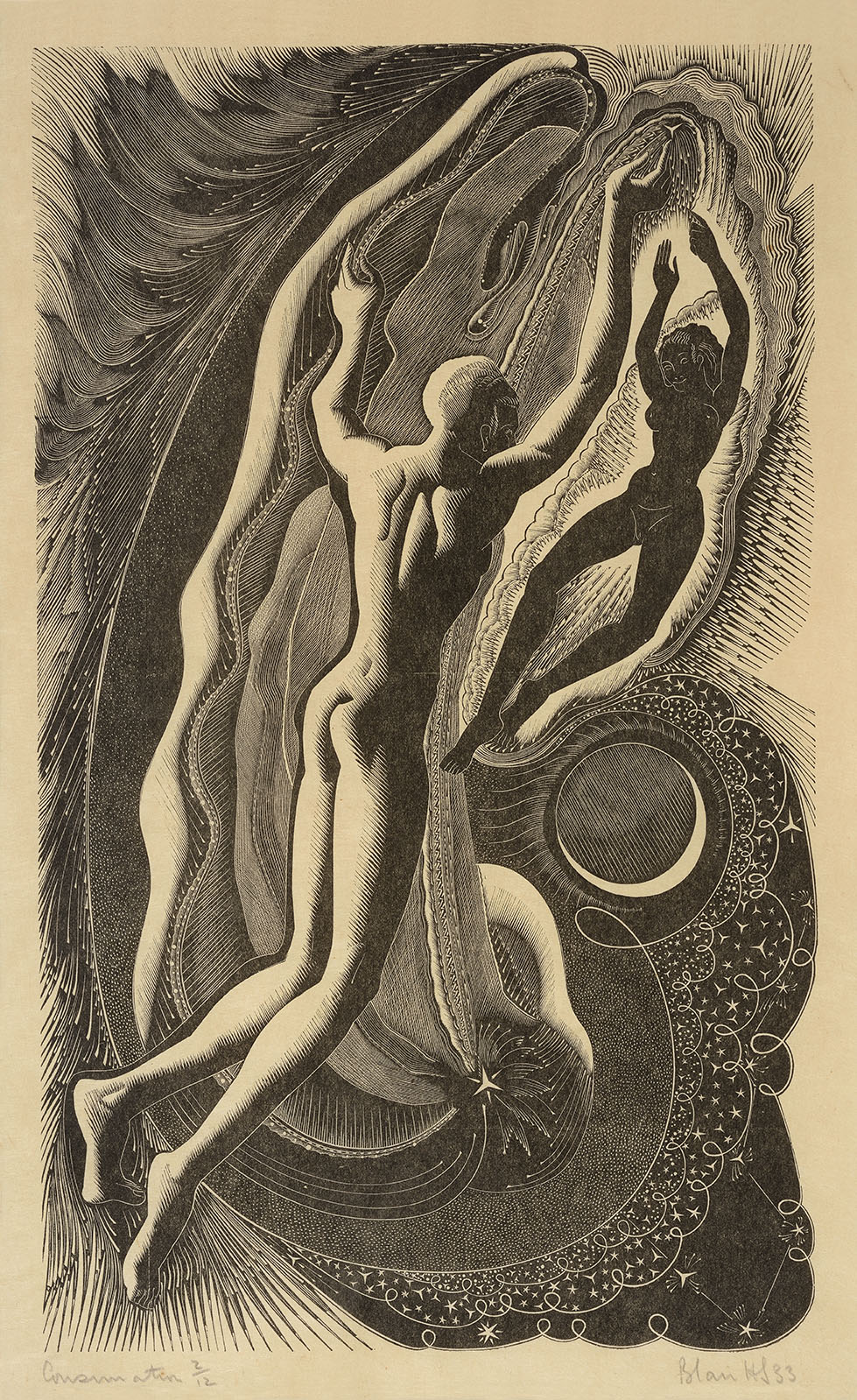 Blair Hughes-Stanton (1902-1981)    Consummation – Illustration to the poem 'Epithalamion' by Ida Graves,  1933, Wood engraving – edition no 3/12, 9 x 6 in, Signed  [CAS 44]
