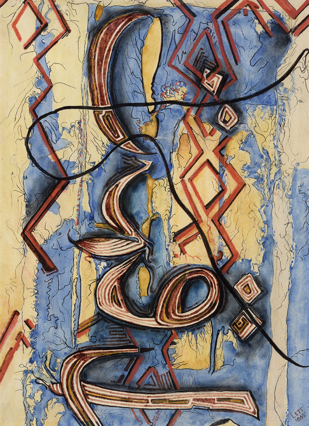 Arthur Lett-Haines (1894-1978)    Pure Abstraction, Arabesque No. 1,  1965, Pen and watercolour on paper, 13 x 9 ½ in, Signed and dated  [CAS 40] Donated in 1981