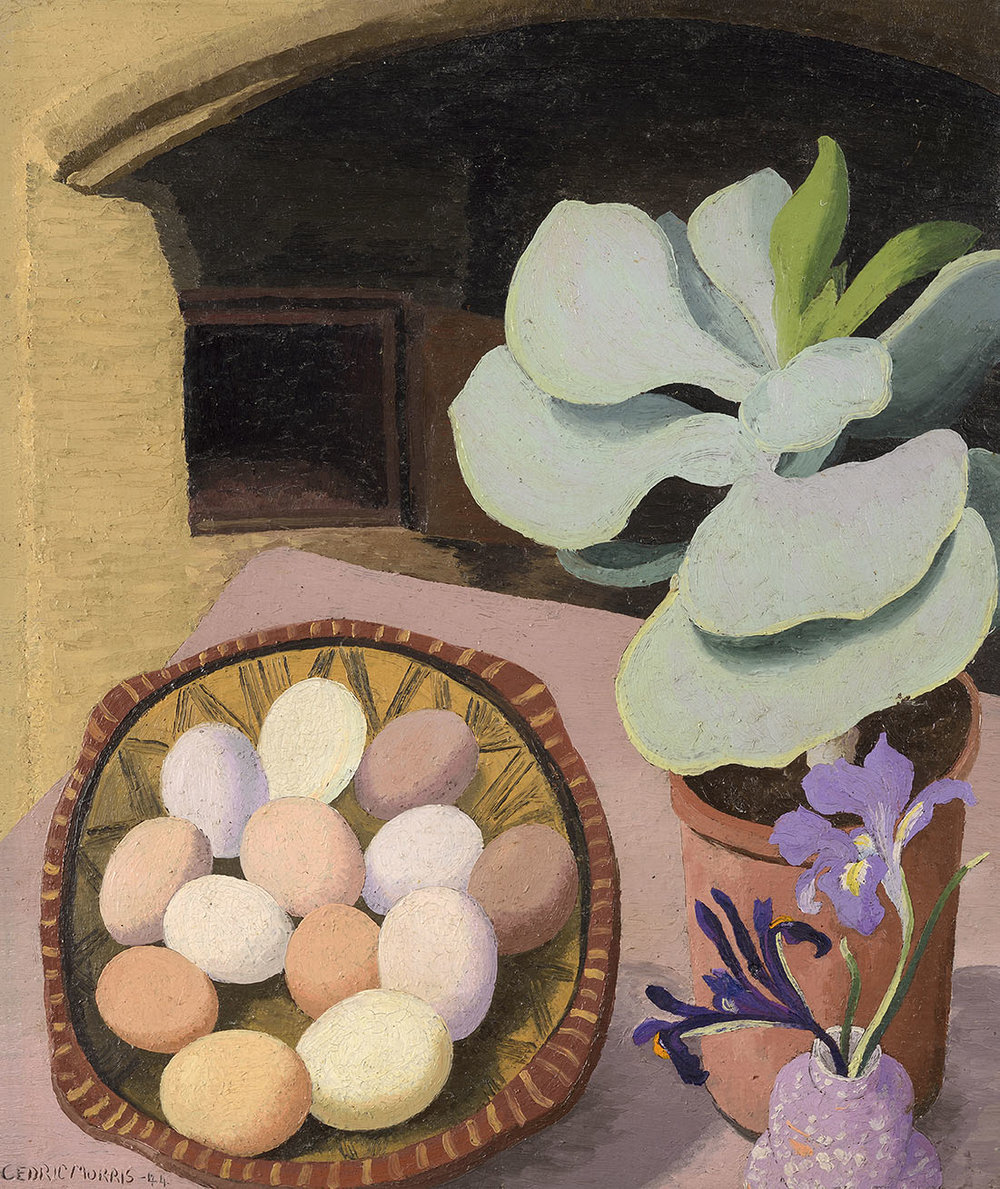 Cedric Morris (1889-1982)    Cotyledon & Eggs,  1944, Oil on composition board, 23 x 19 in, Signed  [CAS 2] Acquired in 1961