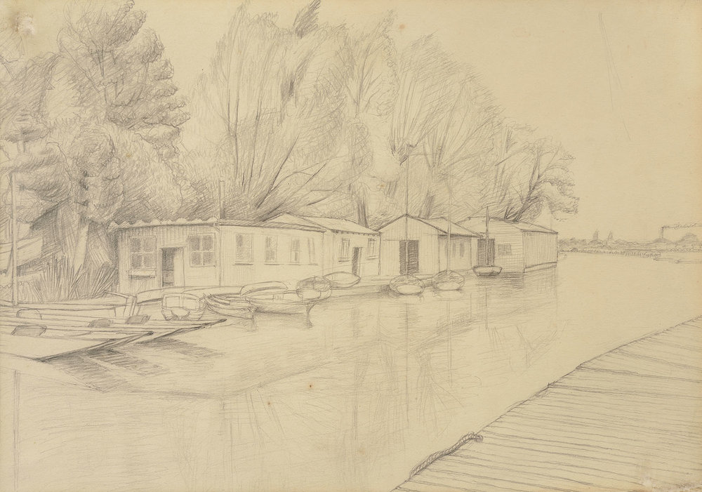 Ralph Nuttall-Smith (1898-1988)    Bossoms Boatyard, Oxford,  1950, Pencil on paper, 10 x 14 ½ in  [CAS 13] Acquired in 1965