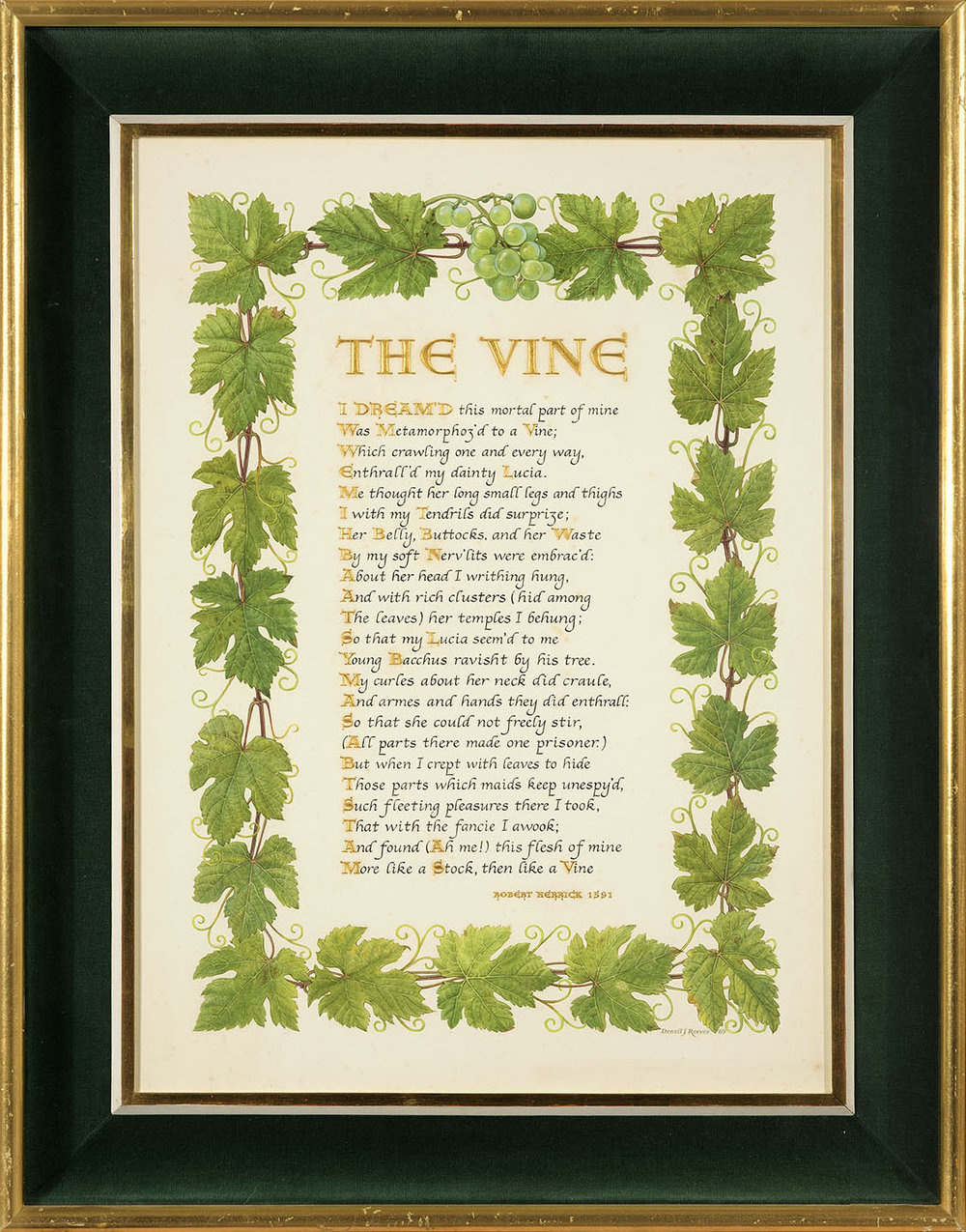 Denzil John George Reeves (1926-2008)    The Vine,  1969, Pen and ink calligraphy/lettering and watercolour on paper, 22 x 16 ¼ in, Signed and dated  [CAS 16] Acquired in 1973
