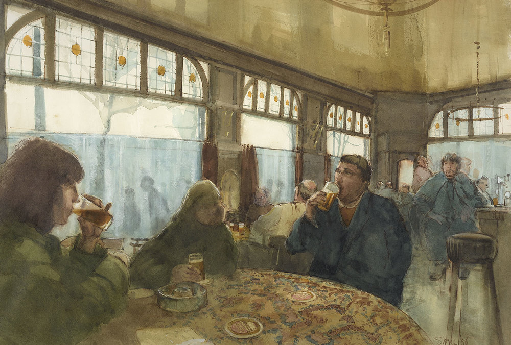 Michael Smee (b. 1946)    Brown Bar–Amsterdam,  1986, Watercolour on paper, 16 ¼ x 24 ½ in, Signed and dated  [CAS 46] Acquired in 1987