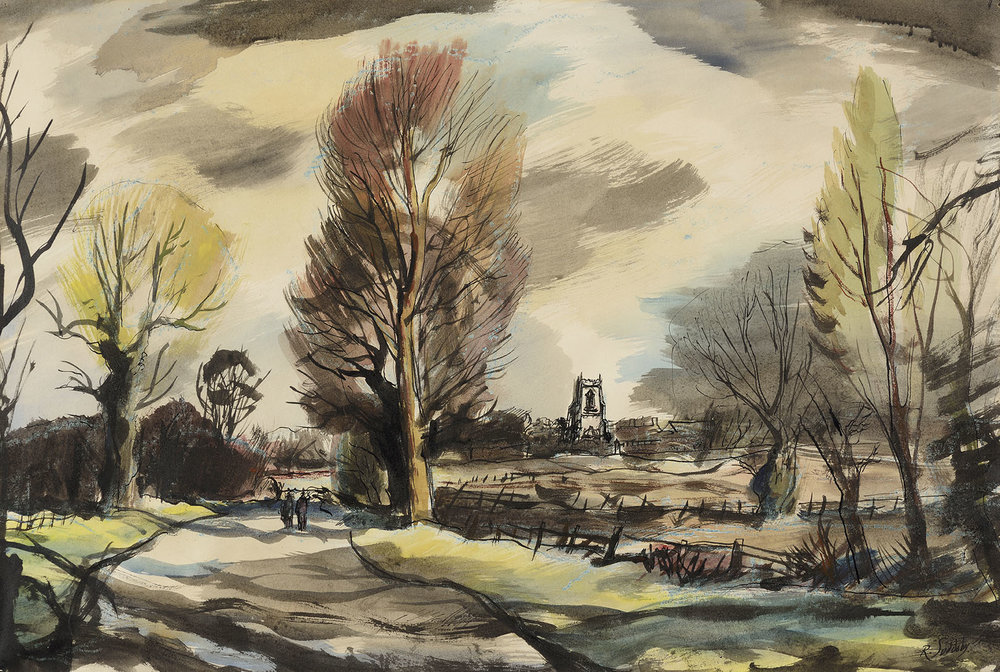 Rowland Suddaby (1912-1972)    Road to Church Farm, Stansfield,  1961, Watercolour/pen and ink on paper, 15 ¼ x 21 ½ in, Signed and dated  [CAS 3] Acquired in 1961