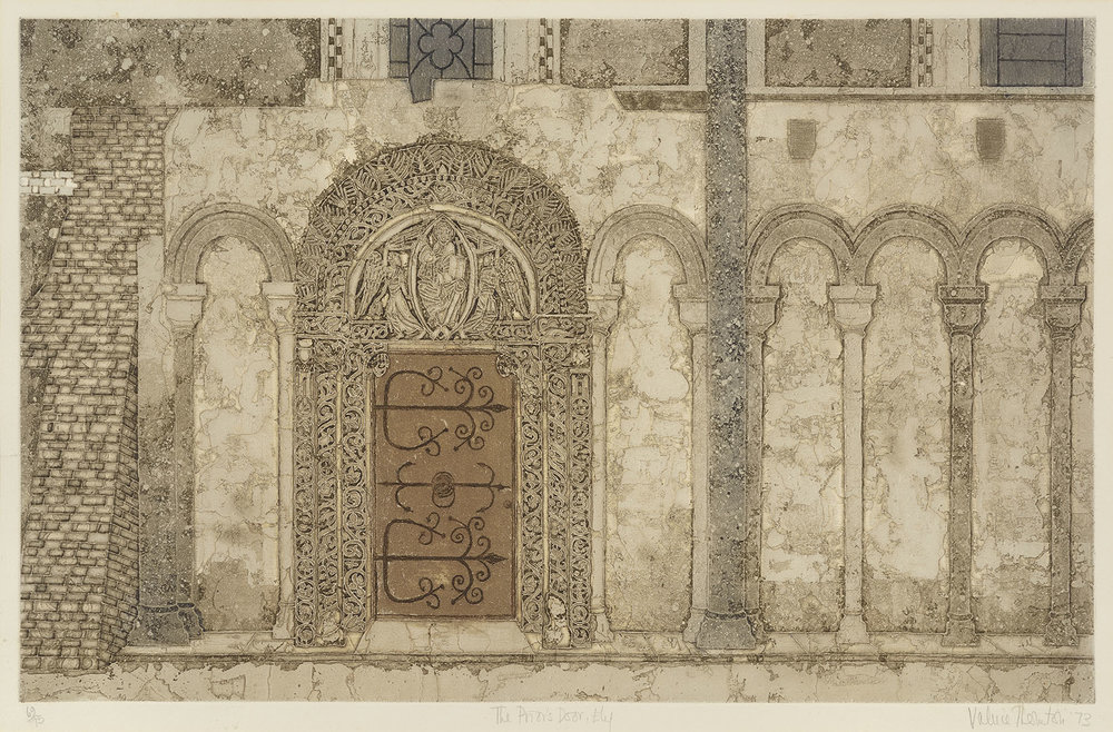 Valerie Thornton NDD, RE (1931-1991)    The Prior's Door,  1973, Colour etching on paper, 15 ½ x 24 ½ in, Signed and dated  [CAS 29] Acquired in 1976
