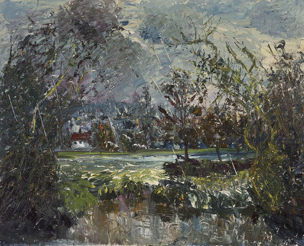 Harold Warner (1914-2010)    Rainstorm nr Lexden,  1989, Oil on canvas, 24 x 30 in  [CAS 24]