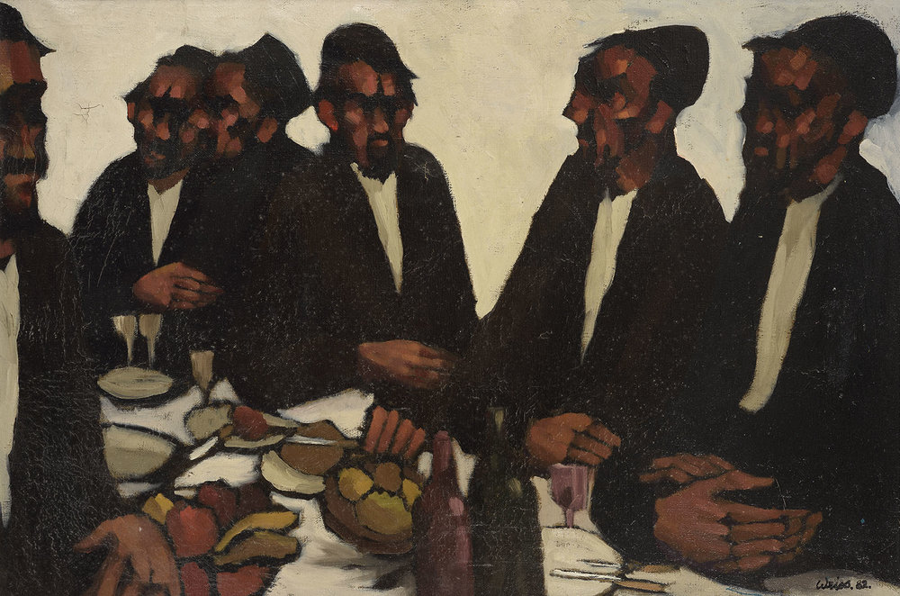 Ivor Weiss (1919-1986)    Six Rabbis at the Table,  1982, Oil on canvas, 18 x 26 in, Signed and dated  [CAS 43]