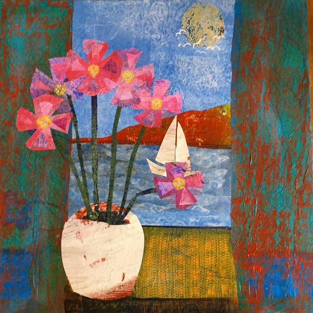 Still Life with Sailing Boat , Mixed media collage on canvas, 40 x 40 cm unframed