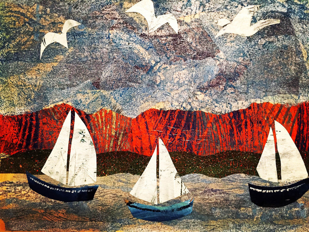 3 White Sails , Mixed media collage on board, 40 x 30 cm framed