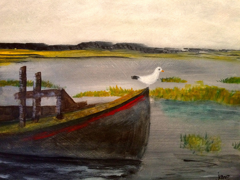 Seagull on Old Boat , Acrylic on board, 30 x 21 framed