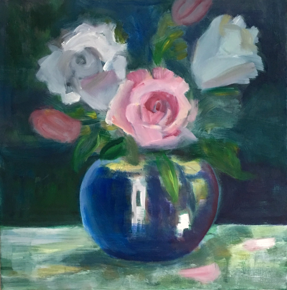 Blue Vase with Flowers , Oils