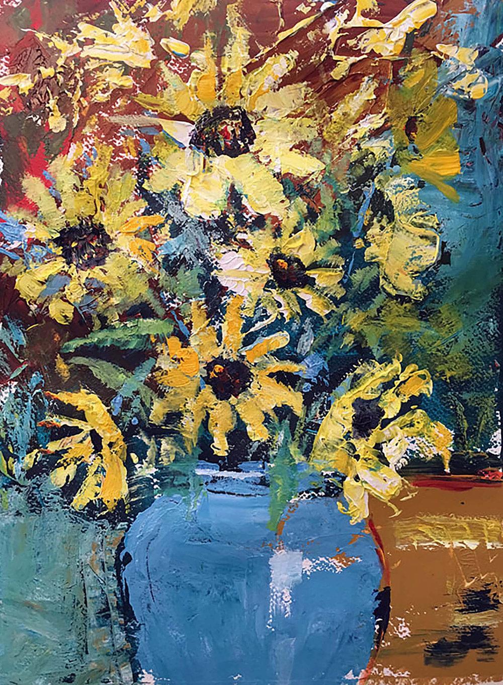 Vase of Sunflowers , Acrylic, Sold