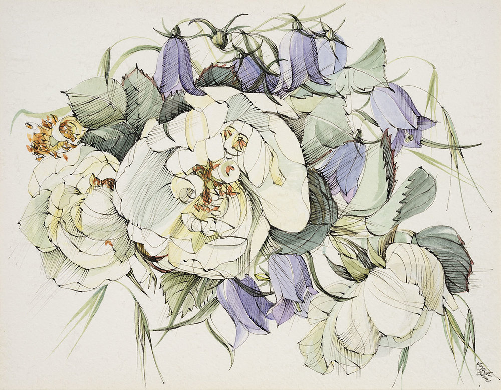 Jennifer Andrews Des RCA (b. 1935)    Harebell round a White Rose,  1960s, Watercolour on hot pressed paper, 5 ¼ x 6 ¾ in, Signed  [CAS 19] Acquired in 1972